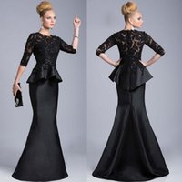 mother of the groom dresses - Black Mermaid Mother Of The Bride Dresses Half Long Sleeve Lace Floor Length Formal Mother s Wear Custom Made Groom Mother Gowns