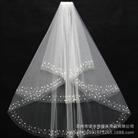 Wholesale 2016 Hot selling Wedding Veils Two Layers Pearl Beaded Edge Gorgeous Elbow Length Cheap Bridal Veil
