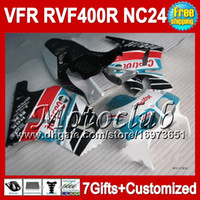 Wholesale 7gifts For HONDA Castrol blue VFR400R NC24 RVF400R VFR R C5433 VFR R RVF R V4 black red Fairing