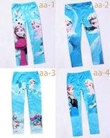 Cheap free DHL 90-140cm baby girls frozen leggings princess Elsa Anna long pants spring autumn children tights snow queen cosplay pants trousers