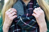 Wholesale Hot sale new women s lady s winter blanket plaid scarf grid chaddar high grade double sided long thick scarf pashmina