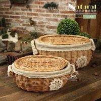 Wholesale Courtyard garden rattan wicker storage baskets idyllic covered Storage basket storage basket rattan basket basket Creative