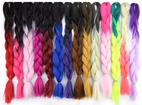 Wholesale Kanekalon Blue Braiding Hair quot g Synthetic Brading Hair Extension Ombre Braiding Hair Soft Dreads Box Braid Extensions