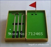 aluminum golf clubs - New fashion Creative Golf Club Pen Set gift promotional ball pen Aluminum Piece set