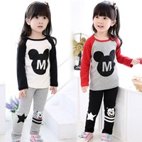 Girl Spring / Autumn Long 2015 new girls clothes minnie mouse long sleeve T-shirts+pants 2pcs suit girl outfits children spring autumn clothes set kids outwear