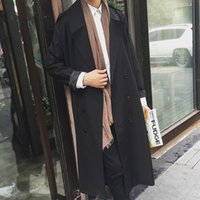 Wholesale Spring Trench Coats For Men - Fall-2016 New Spring Autumn Trench Coat For Men Fashionable Vintage Style X-long Solid Color Male Jackets HK Street Wear Men Coat