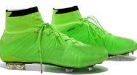 spike ball - Soccer Shoes Real Carton Fiber Football Shoes FG ACC Soccer Cleats Cheap Football Boots Outdoor Ball Sports Shoes Hi Cut Athletics