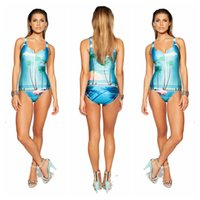 beach scene prints - New Summer Women Scene printing D One Piece Swimsuit Swimwear Bathing Suit beach suits plus size