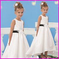 Cheap Cheap 2015 Hi Lo Flower Girls Dresses Jewel Neck Floor Length First Communion Dress Custom Made in China