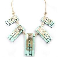 acryl resin - Women acryl panel and gold rectangle pipe decoration charm necklace Ladies Jewelry