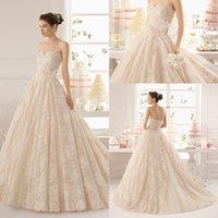 flower appliques lace - AB002 Princess Pretty Sweetheart Neckline Applique Lace Beads Sequins Blush Long Bridal Dresses Wedding Gowns A line Wedding Dresses