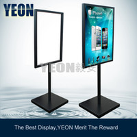 Wholesale YEON heavy outdoor floor menu board black poster stand holder for hotel restaurant MOQ pc bulk order available