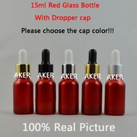 Wholesale 15ml Red Color Glass Bottle e juice ml glass bottles and small glass bottles essential oils