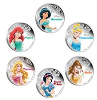 Wholesale 6 set Full set Hollywood cartoon princess Snow white Ariel Aurora Belle Jasmine Cinderalla silver plated souvenir coin set