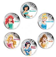 Wholesale 6 set Full set Hollywood cartoon princess Snow white Ariel Aurora Belle Jasmine Cinderalla silver plated souvenir coin set