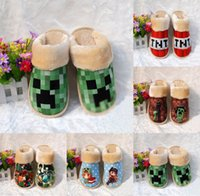 Wholesale 5 styles Minecraft warm shoes winter House Slippers men and women plush Cotton slippers TT42314432147 HX