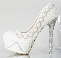 best faux leather - Best Quality Pearls Crystals Wedding Shoes For Women Handmade High Heel CM Round Toe Ivory White Bridal Pumps Party Prom Gowns
