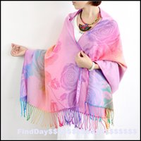 air conditioner hair - P colorful gradient big Peony thick Cashmere Scarf Shawl hair warm air conditioner