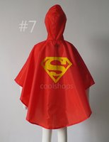 Wholesale MOQ supperhero Rain Coat children Raincoat Rainwear colors options with waterproof bags