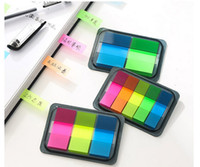 Wholesale cute mini neon stickers film label meno paper classification of plastic notes post it notes