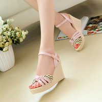 Wholesale 2015 summer sweet boho platform high heels wedges Sandals shoes size heavy bottomed students ASH
