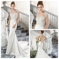 Cheap 2015 Mermaid Wedding Dresses Satin Sweetheart Neck Sculpted Lace Cap Sleeves Open Back Embroidery Sweep Train Bridal Gowns Demetrios