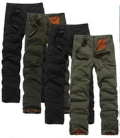 cargo pants for men - Winter Double Layer Men s Cargo Pants Warm Outdoor Sports Pants Baggy Pants Cotton Trousers For Men Color Dark Army Green Black