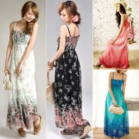 Cheap New 2014 Women Ladies Chiffon Boho Beach Maxi Dress Sleeveless Pleatedlong bohemian dress free shipment