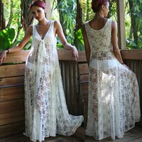 Wholesale NEW Fashion Women Honeymoon White Lace Maxi Long Dress Women Summer Beach Dress Sexy Beach Wear
