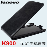 Cheap Case for Lenovo K900 Cell Phone PU Leather Cover 5.5 inch Screen Black Pink White
