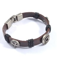 american nuts - Vintage men s nut and cross alloy rivets nylon thread winding pu leather bracelets jewelry SB01269