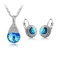 Earrings & Necklace american rivers - NEW Sliver Plated Rhinestone Vintage Moon River Crystal Jewelry Sets necklaces drop earrings Fashion Jewelry for women z024