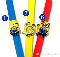 Wholesale Cheap Plastic Resin - Cheap Hot Pretty Minions New Silicone Slap Boy Girls Wristwatch 2 Despicable Me Kids Yellow Minion Watch Children 3D Cartoon watches MYF235