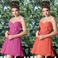 coral for sale - Cheap for Sale Coral Bridesmaid Dresses Short Chiffon Maid of Honor Dress A Line Sweetheart Spaghetti Hand made flowers Dress for Party