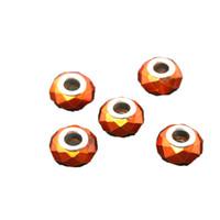 Wholesale 9 mm Orange Glass Big Hole Loose Beads Fit European Jewelry Bracelet Charm DIY DH BBD123
