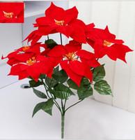 artificial flowers poinsettia - artificial flowers poinsettia christmas flower poinsettia christmas home festival decoratiion flower cm Head Poinsettia Flower SF008