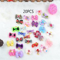 Wholesale 20PCS New Dog Cat bows pets Grooming hair gift Pet charms Color mix Accessories K046