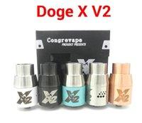 Doge X V2 Atomiseur Rebuildable RDA Doge Réservoir Dripper 5 couleurs SS Noir laiton Blanc bleu ajustement Fuhattan Mod pompier cerise Mods