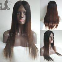 Cheap 8A Virgin Brazilian Human Hair Silk Top Full Lace Wig Ombre Glueless Silk Base Front Lace Wig Ombre Two Tone Straight Lace Wig