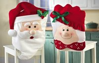 Wholesale Fabric Santa Hat Christmas Chair Slip Covers Stool covers Christmas decorations