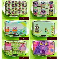 Wholesale 12pcs Six Style Owl Design Card Holder Sweet Plastic Bank Card Hand Bag Mini Change Case HJ326
