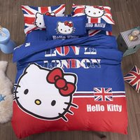 bear comforter - 2017 Cartoon Character Monkey kitty Bear Flag Cotton bedding set Bed bed Sheet Quilt Duvet Covers PillowCase Bedclothes Bed Linen