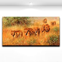 Cheap Lion Animal Modern Knife Painting Wall Art Decoration Oil Painting on Canvas Print Wall Décor