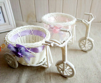 baskets bulk - Flower Basket Wedding Decorations Tricycle Bike Plastic White Weaving Design Flower Basket Storage Party Decoration New Flower Arranging Bir