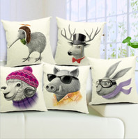 Wholesale Kiwi Bird Cushion Covers Animal Sheep Wild Boar Deer Birds Pillow Cases Sausage dog dachshund Pillows Covers Decoration Kids Gift WG1481