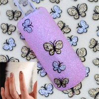 Wholesale 1 x Sheet D Glitter Gold Silver Butterfly Nail Art Stickers Decals Nail Art Decoration