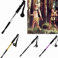 aluminum crutches - Ultra light Aluminum Alloy Telescopic Trekking Pole Portable Adjustable Straight Shank Alpenstock Hiking Walking Stick Damping Crutch QAD
