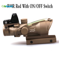 Wholesale Trijicon ACOG Style X32 Tan Real Fiber Optics Green Illuminated Tactical Scope w RMR ON OFF Switch Red Dot