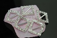 Wholesale 20mm Square Rhinestone Crystal Buckles Brooches mm Bar Invitation Ribbon Chair Covers Slider Sashes Bows Buckles Wedding Supplies