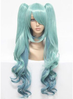 Wholesale Fashion New Fashion Sexy Full cm Long Synthetic Hair Blue Cosplay Wig Ponytails Free Wig Cap